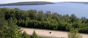 MDOT turnout overlooking Grand Island