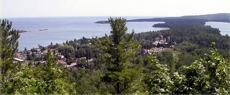 Looking down at Copper Harbor from Brockway Mountain